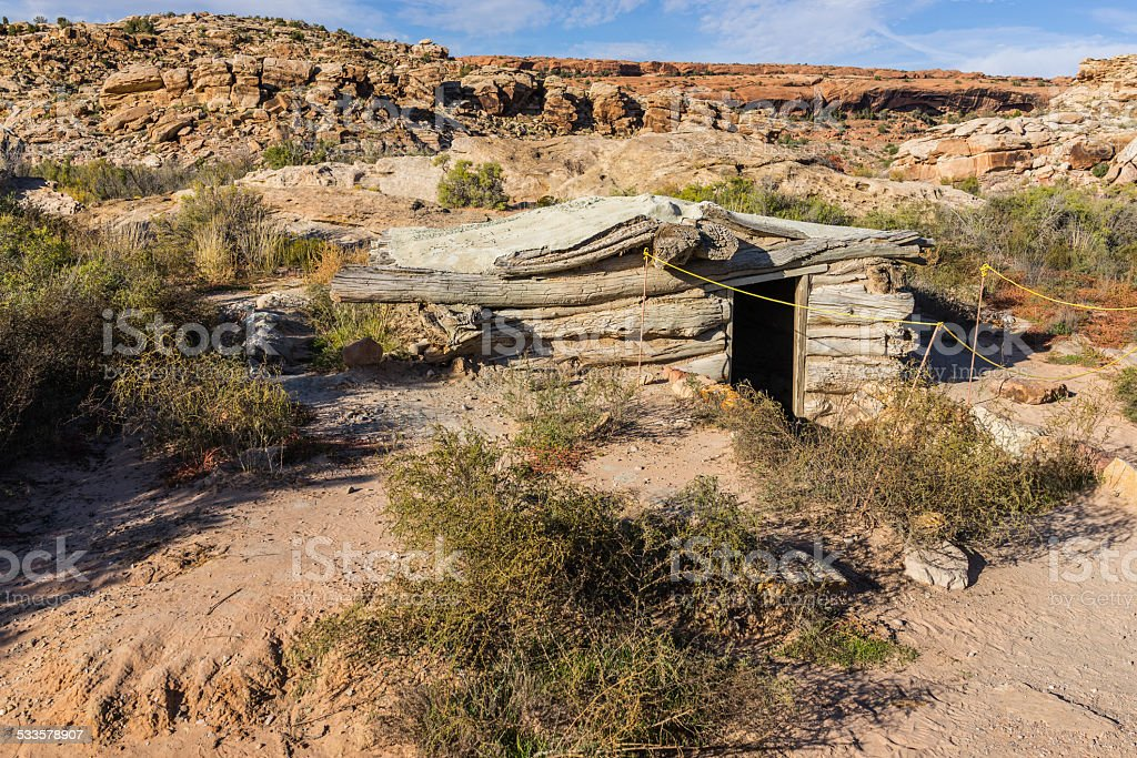 Utah. Arches National Park. Wolfe Ranch. The root cellar stock photo