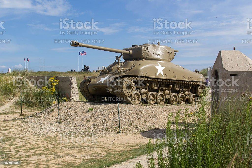 Utah Beach M4 Sherman tank at memorial beach stock photo