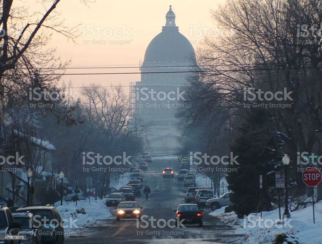 Utah Capital Building in Winter at Sunrise royalty-free stock photo