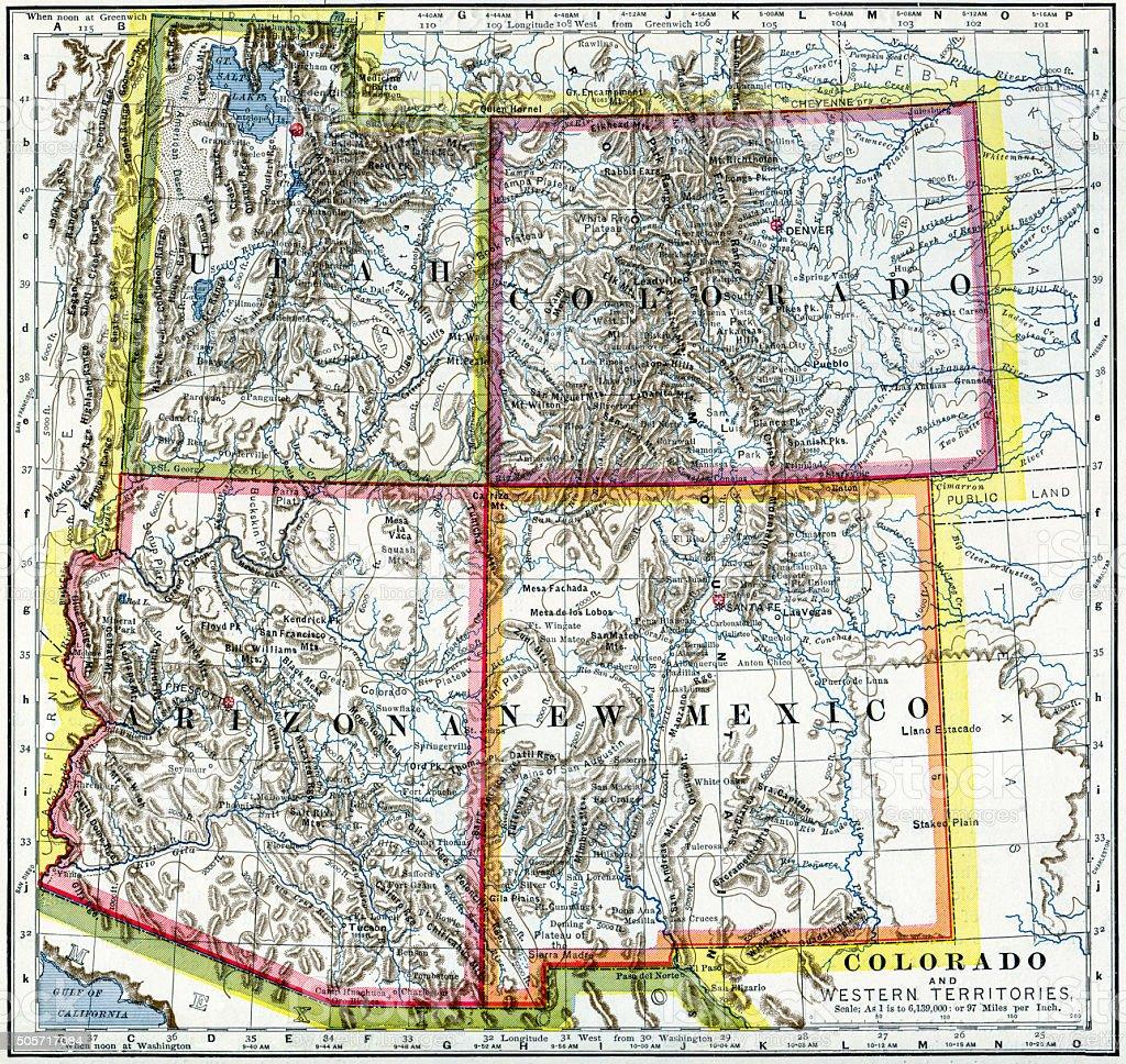Utah, Colorado, Arizona, New Mexico Map 1883 stock photo