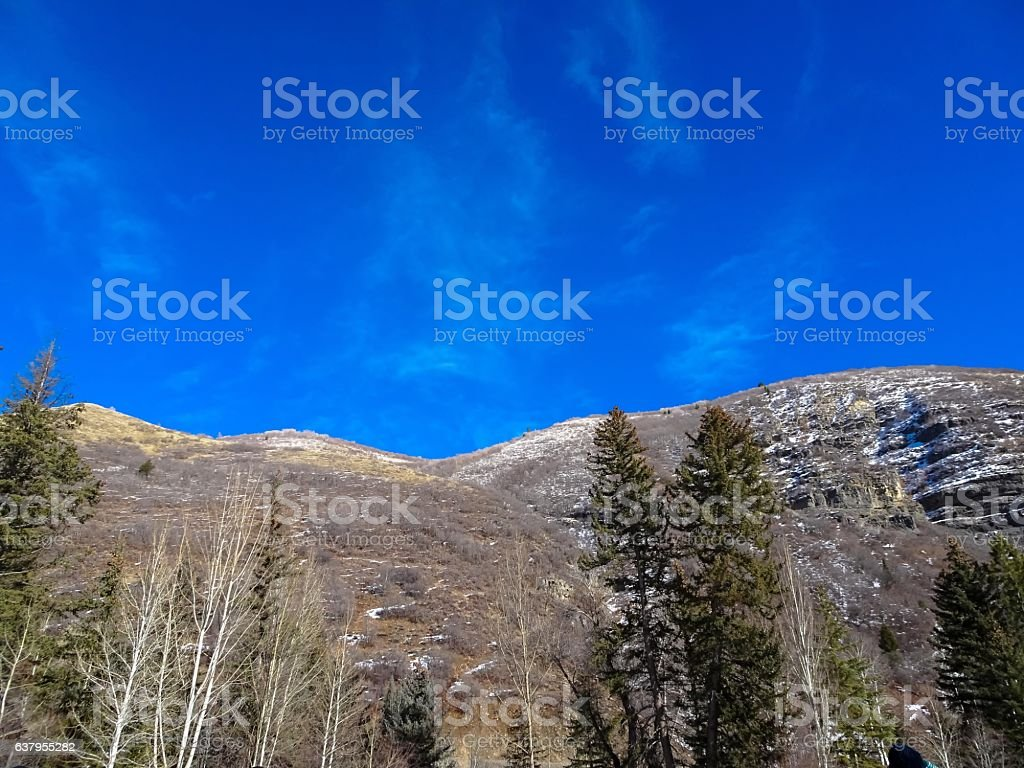 Utah mountain scenery from low angle view stock photo