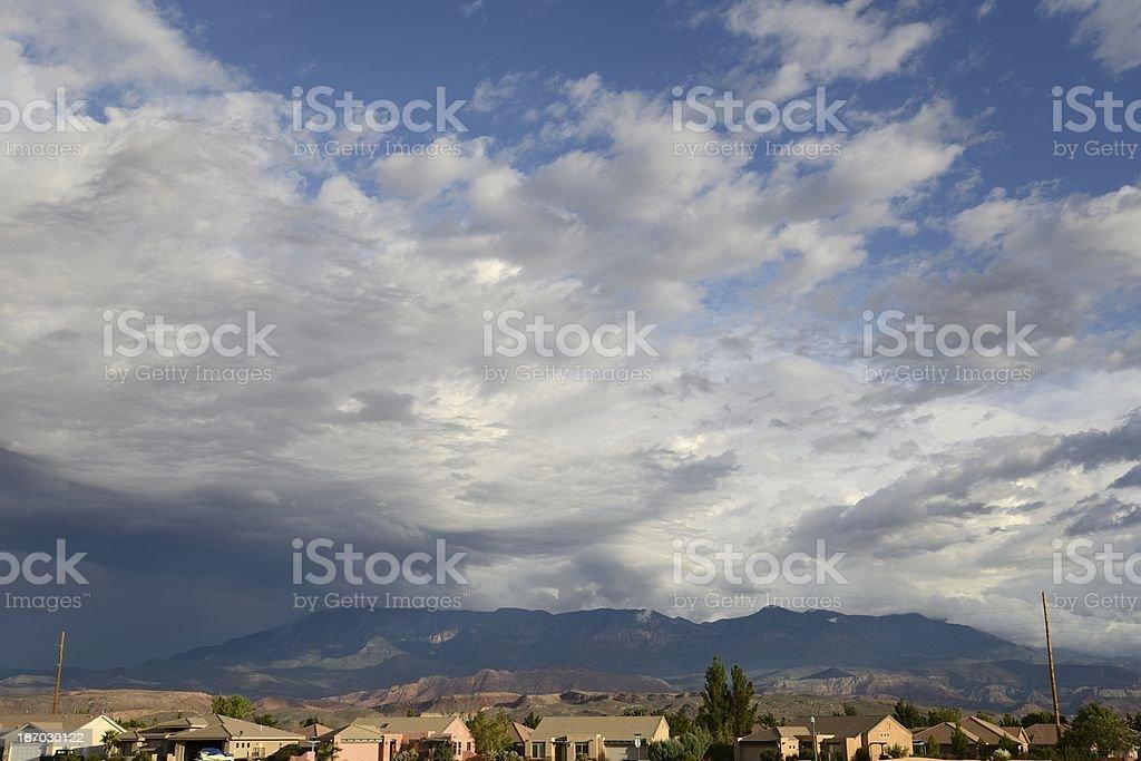 Utah Neighborhood Under Dramatic Sky royalty-free stock photo