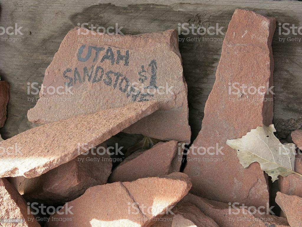 Utah Sandstone Rock Pieces for Sale stock photo