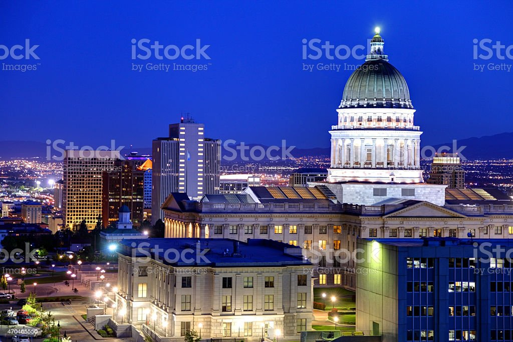 Utah State Capitol and the Salt Lake City skyline stock photo