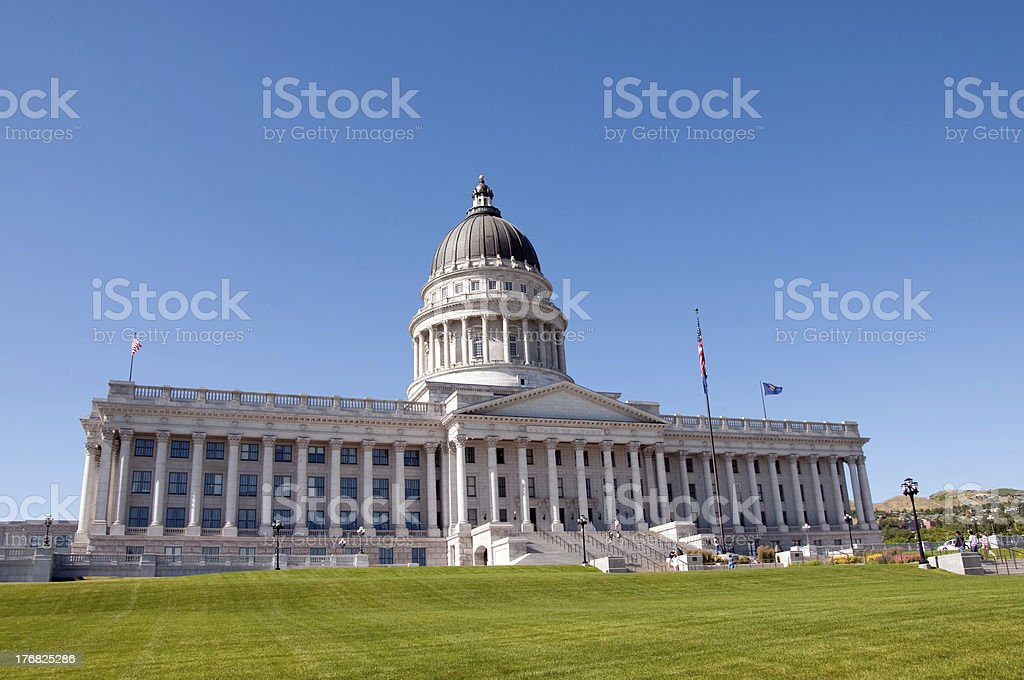Utah State Capitol Building Against a Clear Blue Sky stock photo