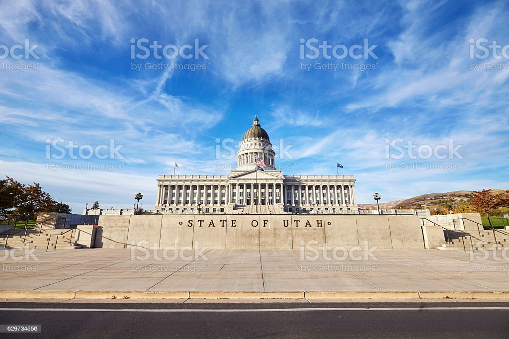 Utah state capitol building in Salt Lake City, USA stock photo