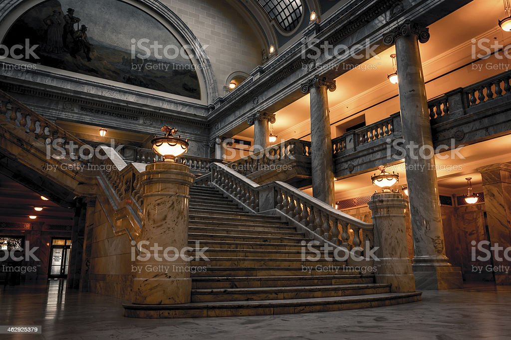 Utah State Capitol Building stairs stock photo