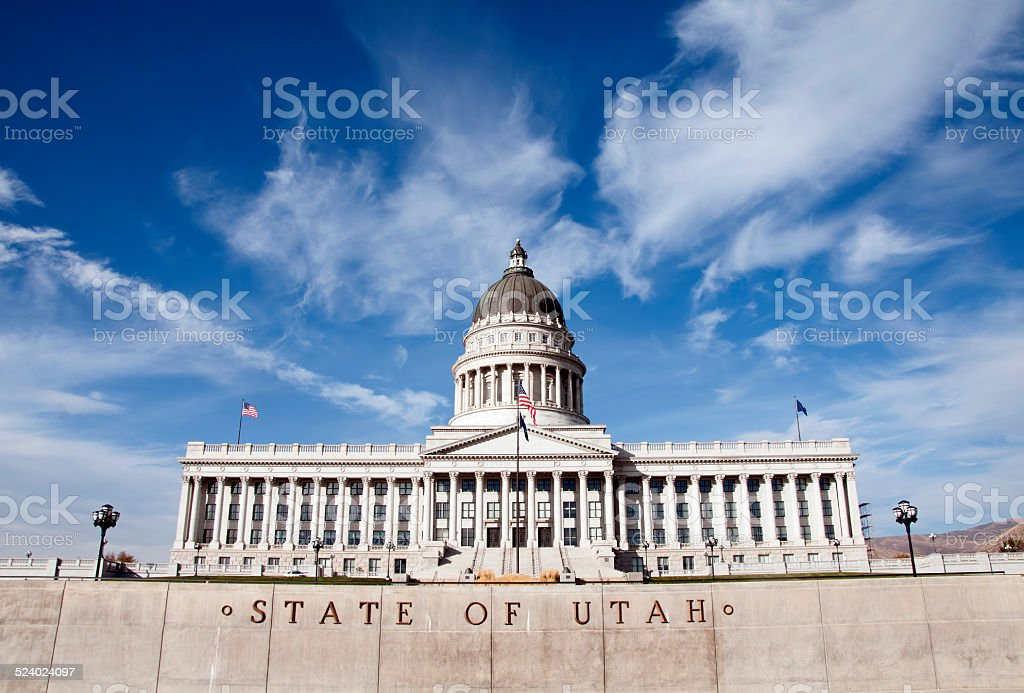 Utah State Capitol Building with the State of Utah Lettering stock photo