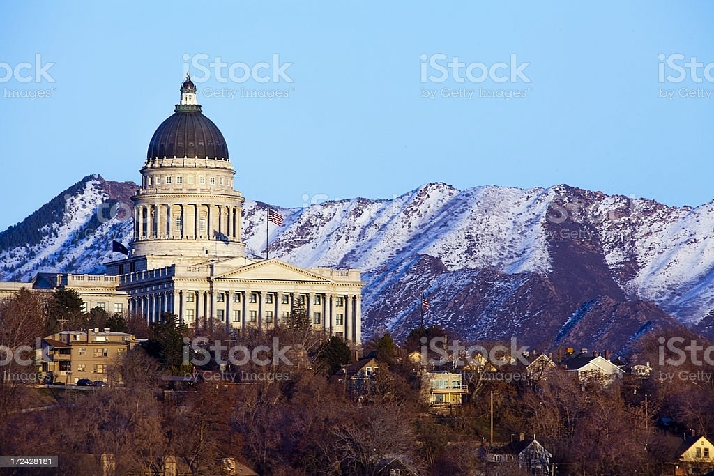 Utah State Capitol with Mountains as Backdrop stock photo