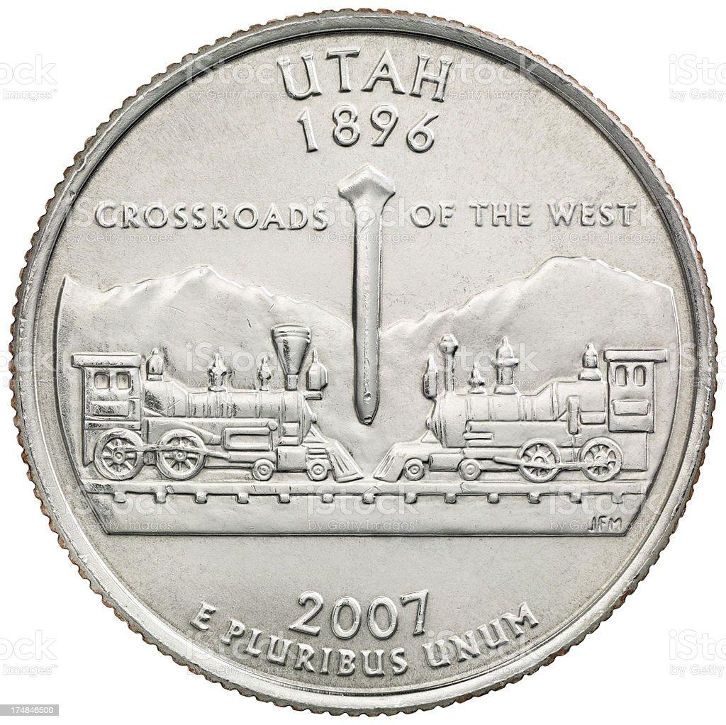 Utah State Quarter Coin stock photo