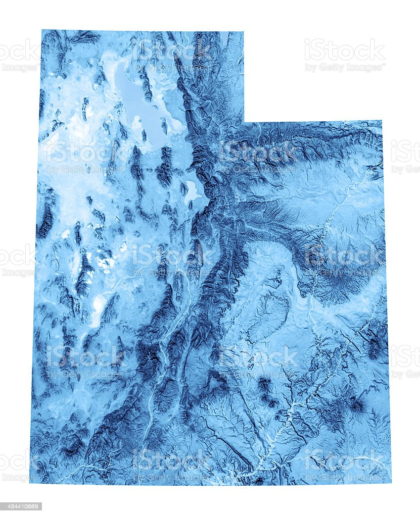 Utah Topographic Map Isolated stock photo