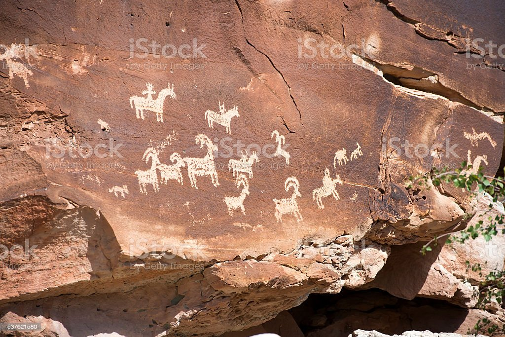 ute petroglyphs in Arches National Park, Utah stock photo