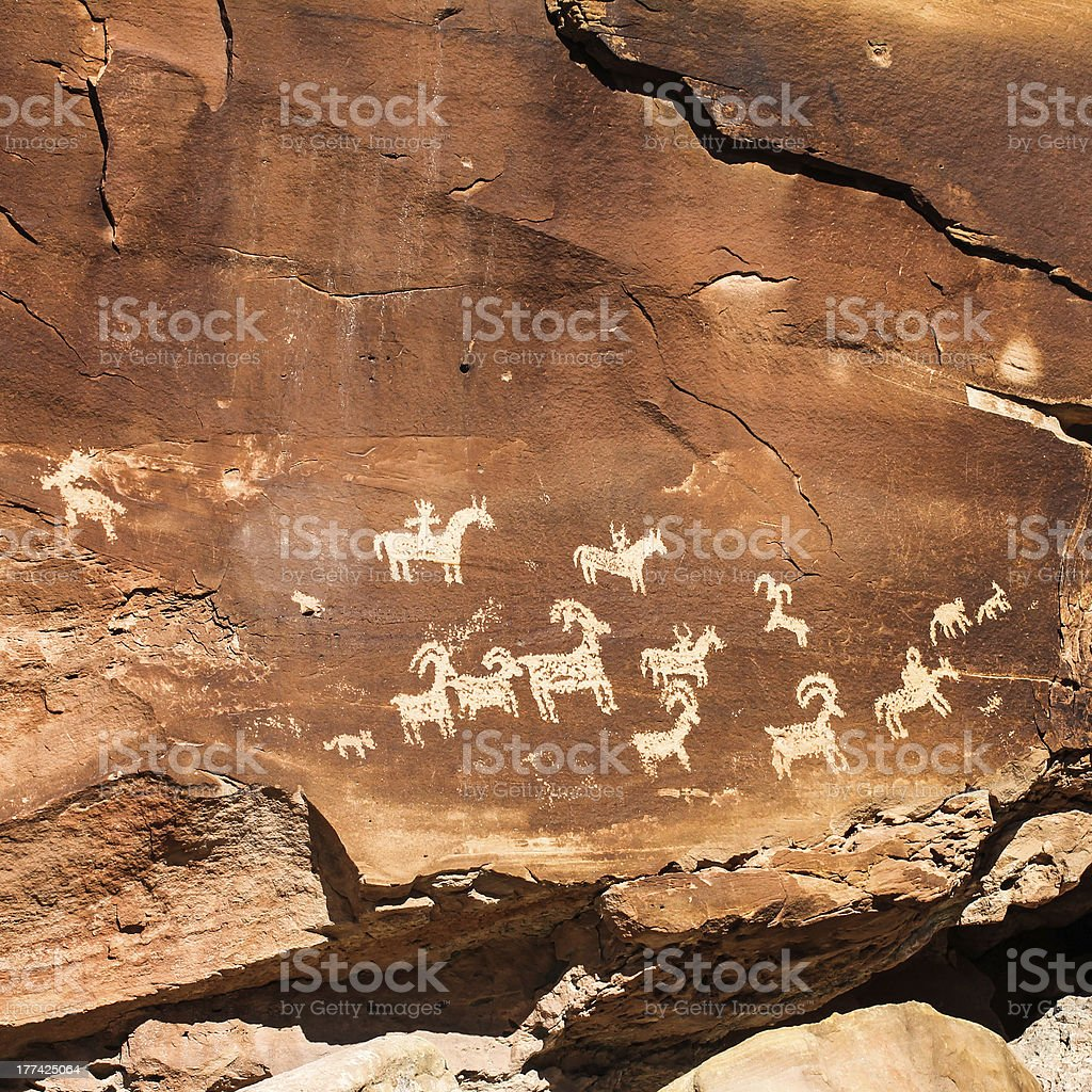 Ute Rock Art stock photo