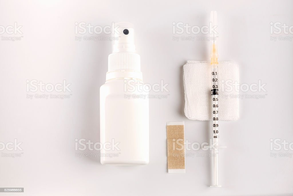 Utensilien f??r eine Impfung, Desinfektion, Tupfer, Impfstoff, Pflaster, Freiburg, Deutschland stock photo