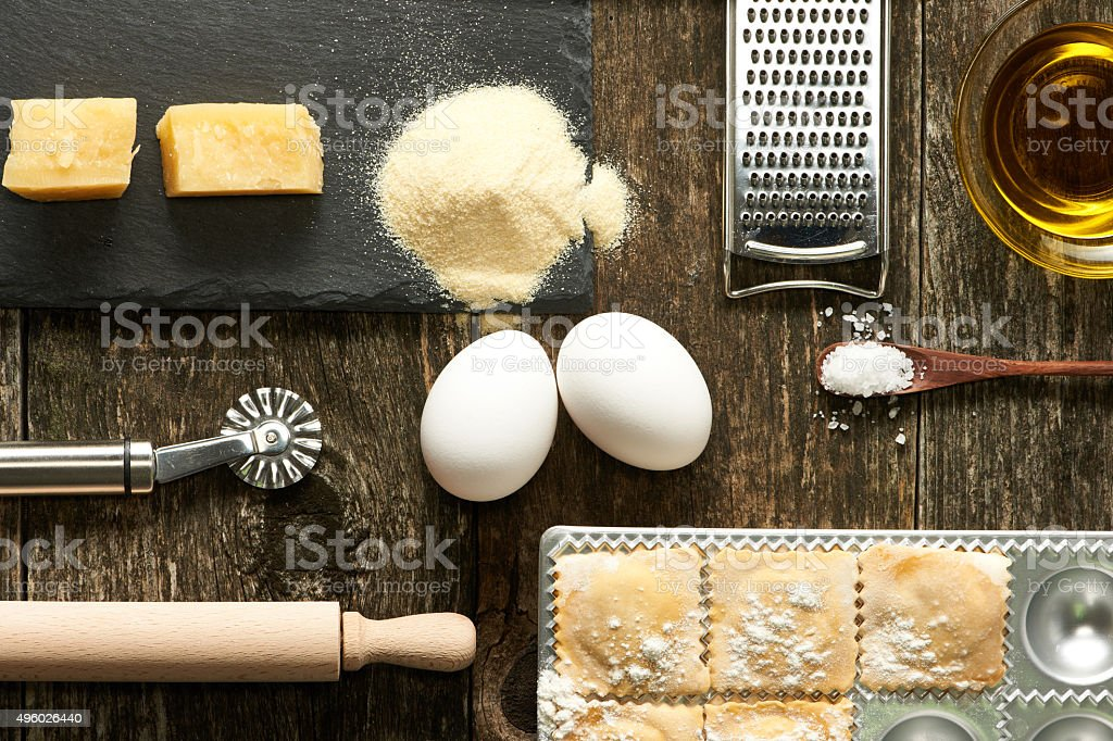 Utensils and ingredients for ravioli stock photo