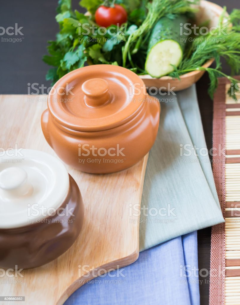 Utensils. Clay Pot for Cooking stock photo