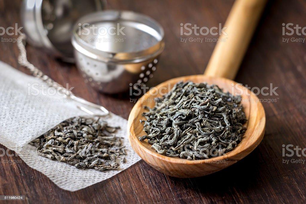 Utensils for preparing tea on the table stock photo
