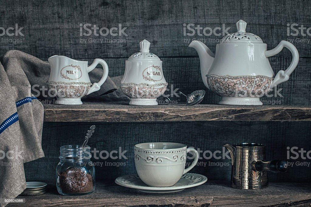 Utensils on shelves, vintage style stock photo