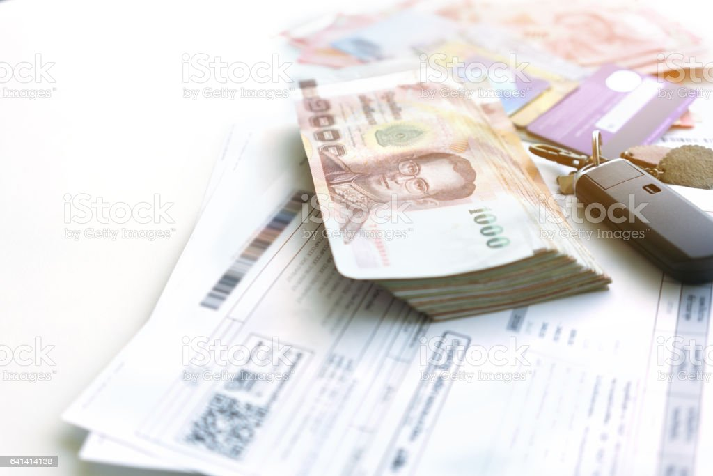 Utility bills , Thailand banknotes and credit cards for payment stock photo