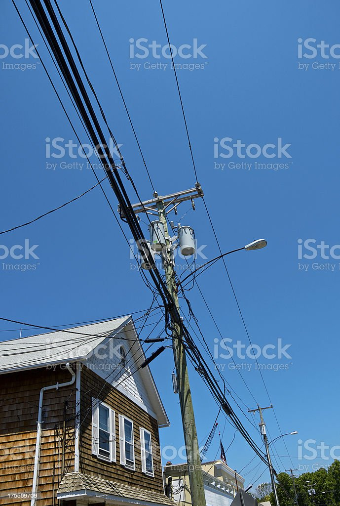 Utility lines & pole, structures, New England, United States royalty-free stock photo