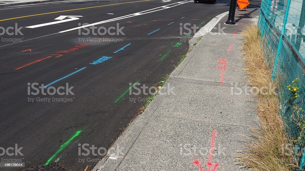 Utility Location Roadwork stock photo