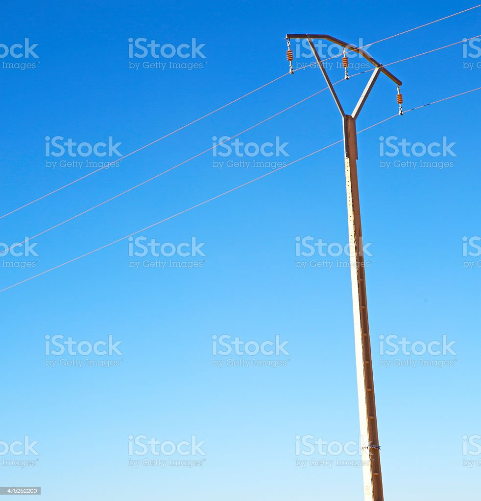 utility pole in africa morocco energy and distribution pylon stock photo