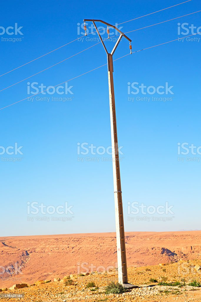 utility pole in africa morocco energy stock photo