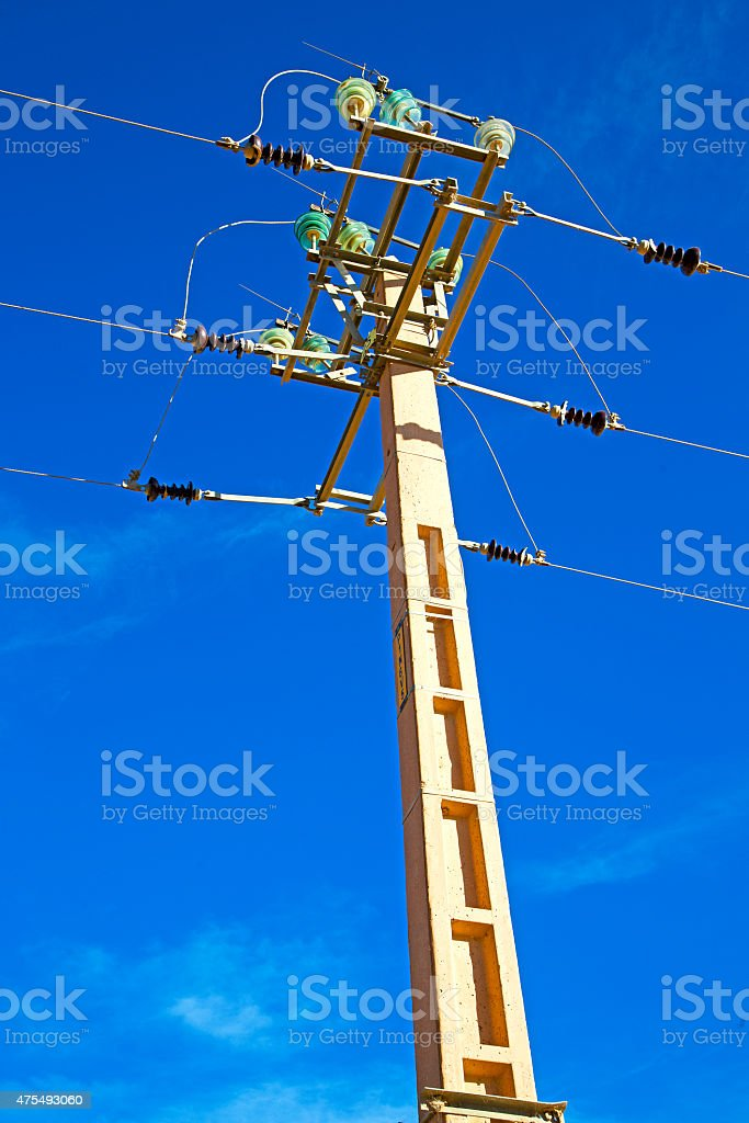 utility pole in energy and distribution pylon stock photo