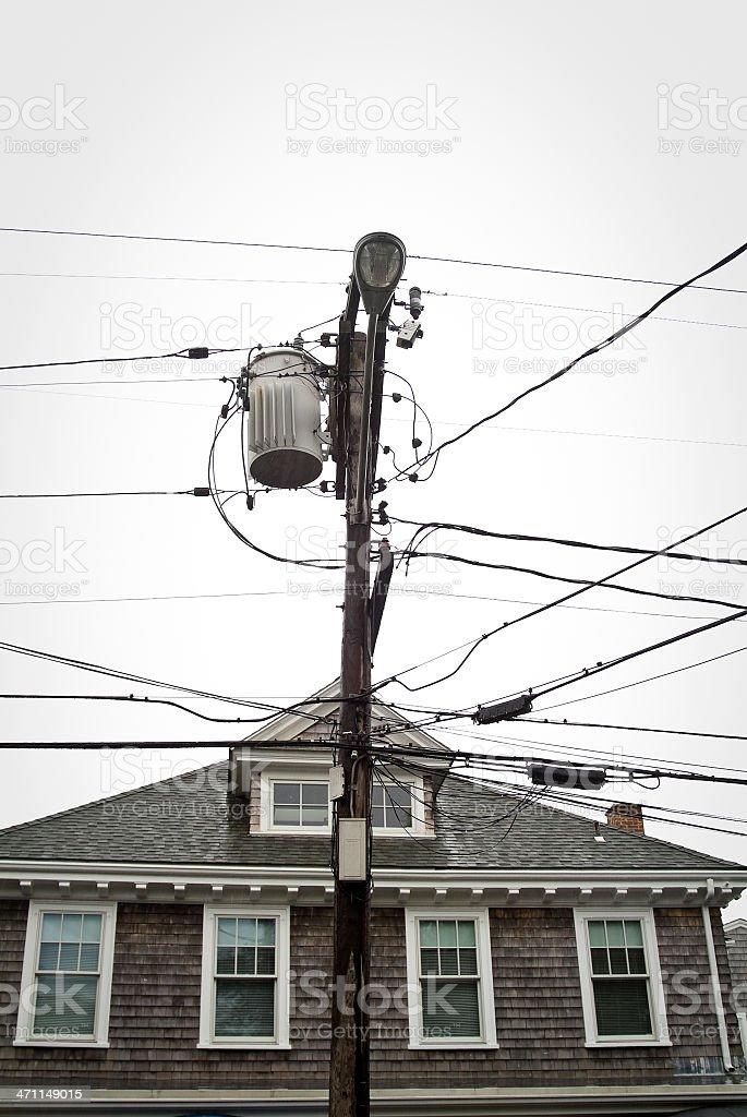Utility pole in the rain stock photo