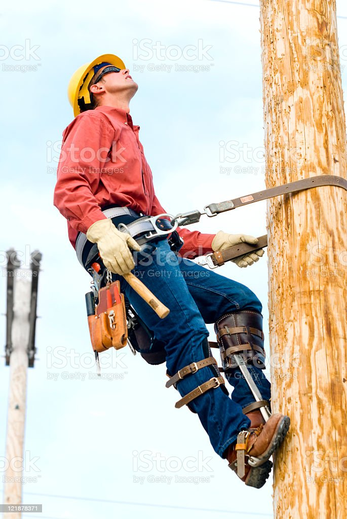 Utility Power line Technician  royalty-free stock photo