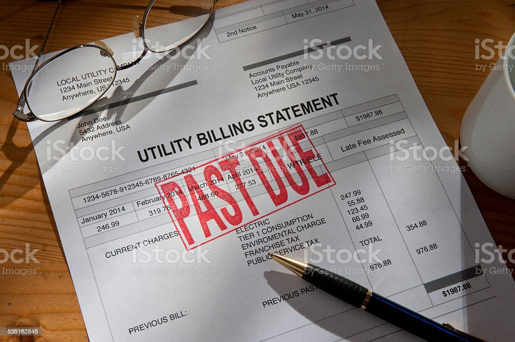 Utility, water, Electric Past Due Bill stock photo