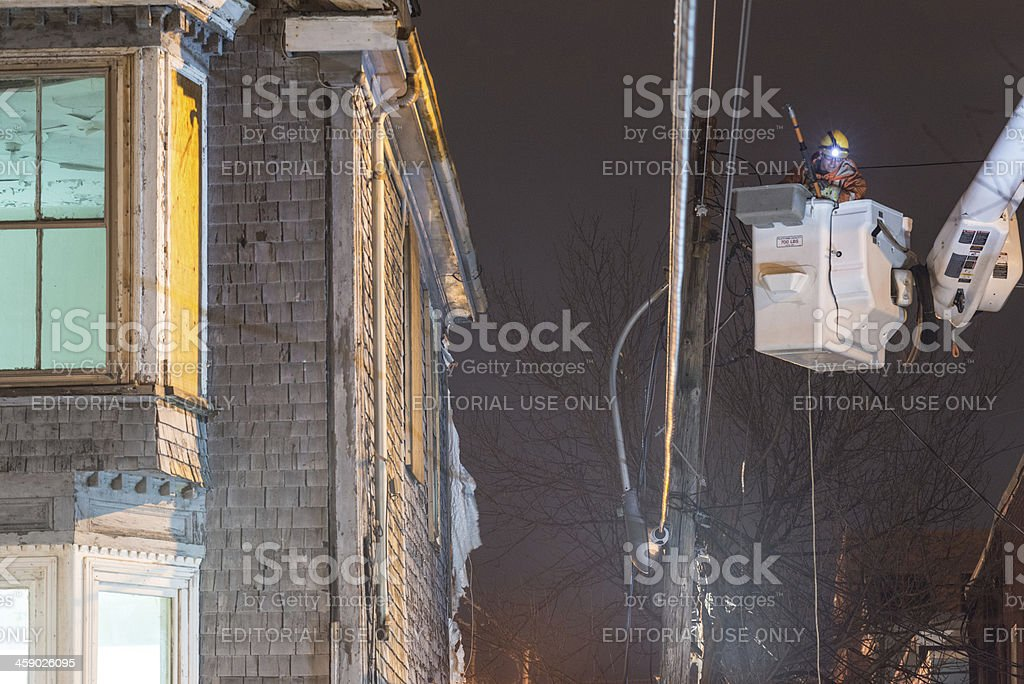 Utility worker with Morris House stock photo