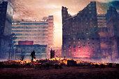 Utopian businessman walking to the job, destruction, apocalypse