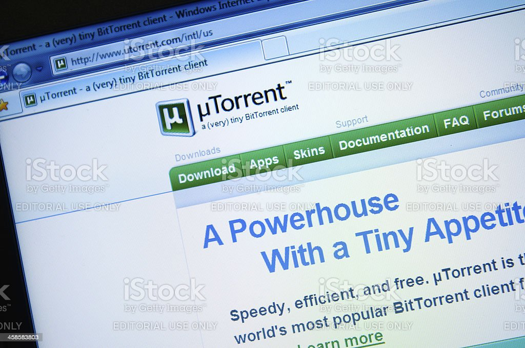 Utorrent.com main page - english version site stock photo