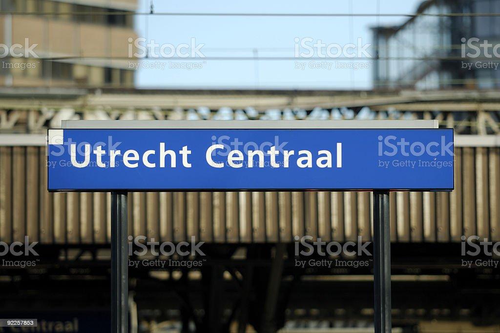 Utrecht central railway station sign stock photo