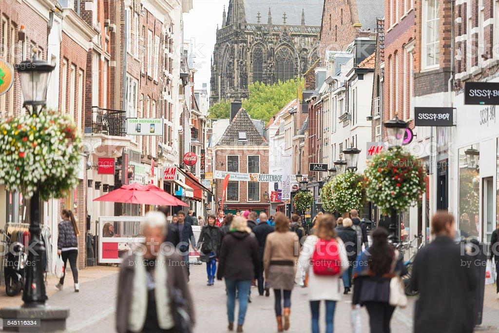 Utrecht city center shopping street stock photo