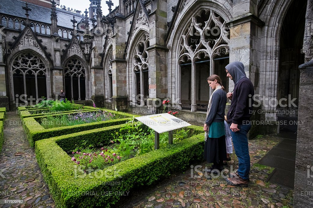 Utrecht cloister cathedral stock photo