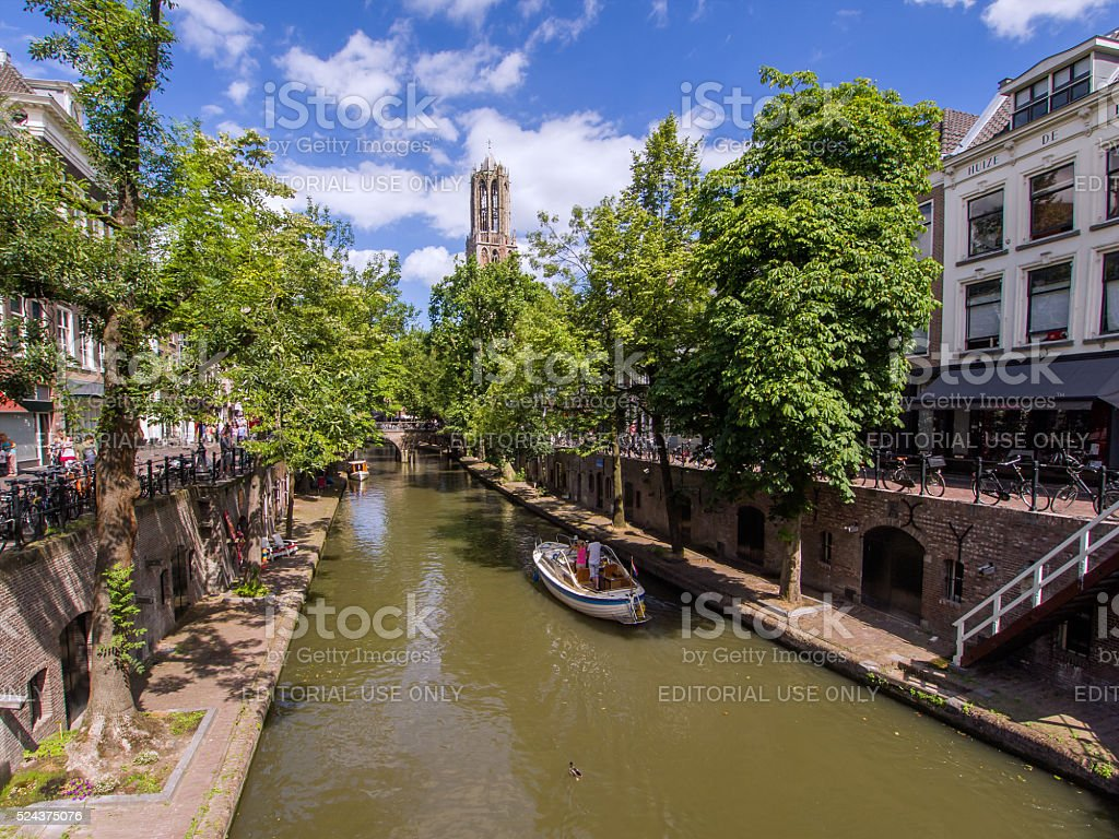 Utrecht Oudegracht met Dom tower stock photo