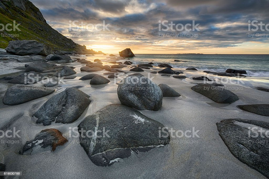 Uttakleiv Beach, Evening Mood, Lofoten, Norway stock photo