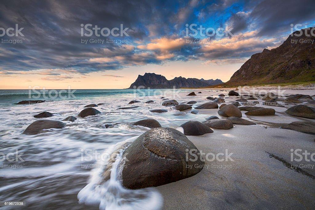 Uttakleiv Beach, Evening Mood, Lofoten, Norway stock photo