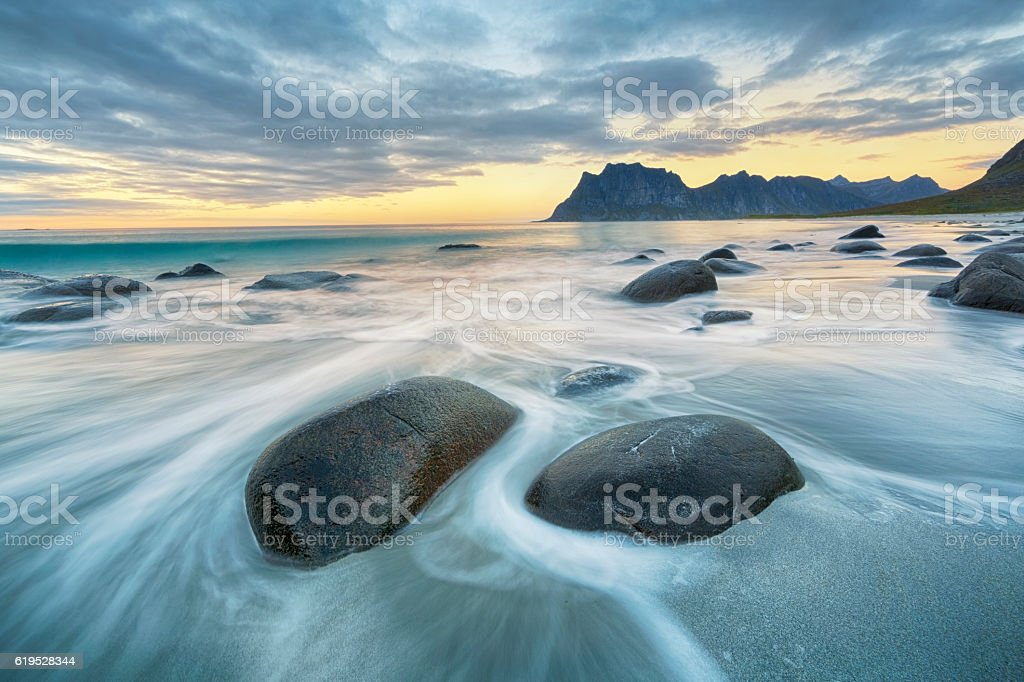 Uttakleiv Beach, Lofoten, Norway stock photo