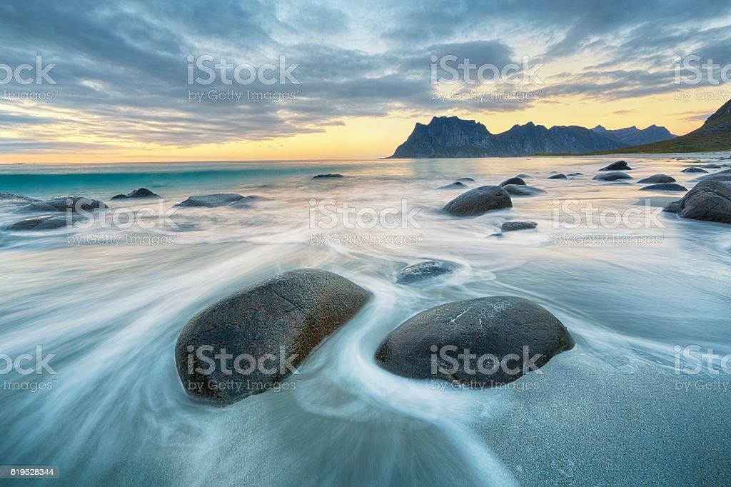 Uttakleiv Beach, Lofoten, Norway stock photo