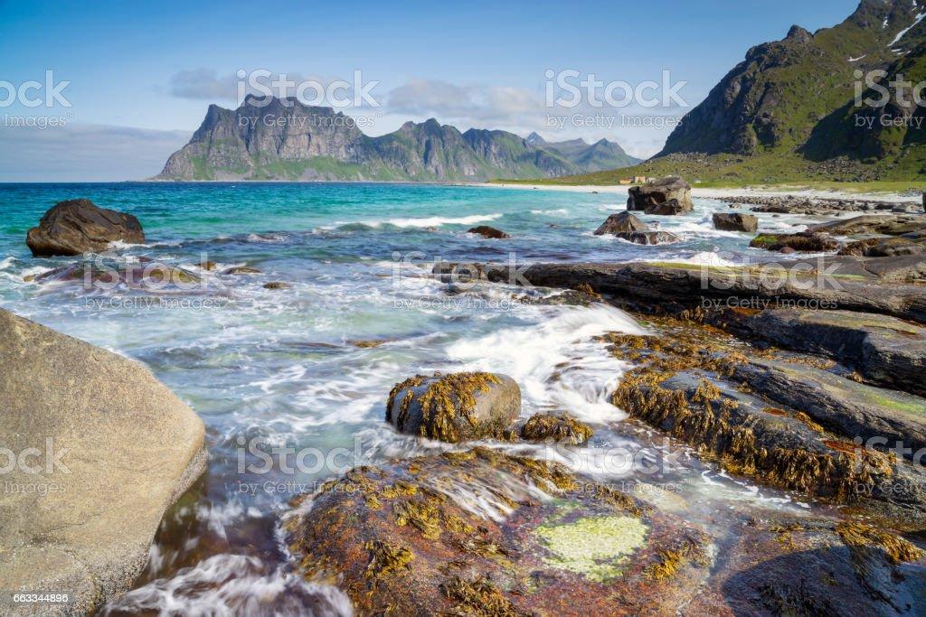 Uttakleiv beach on the Lofoten in Norway in summer stock photo