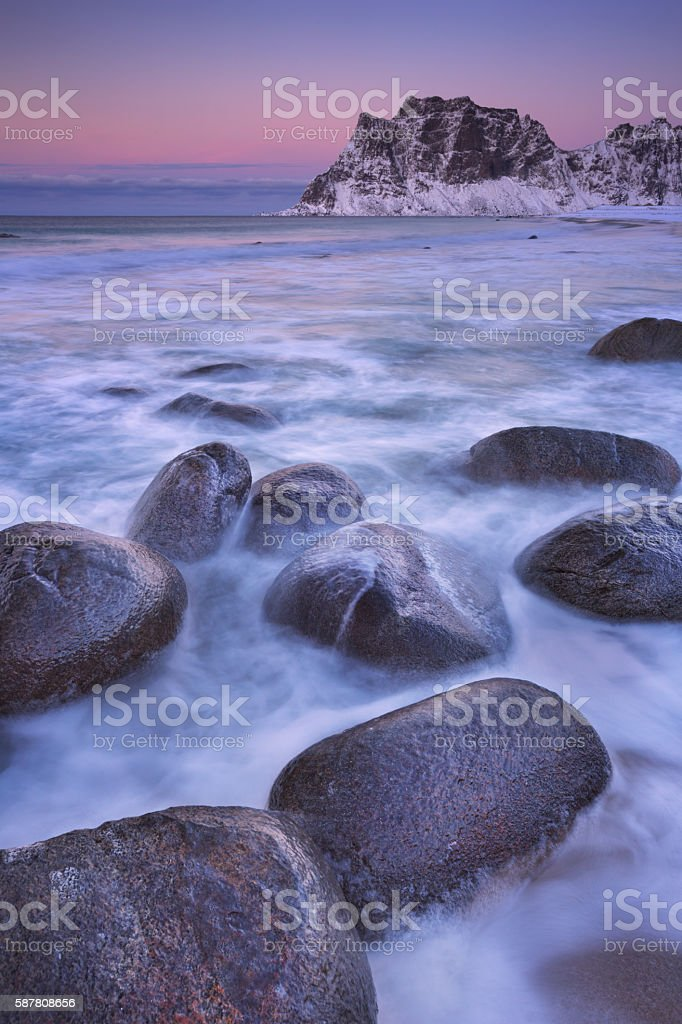 Uttakleiv beach on the Lofoten in Norway in winter stock photo