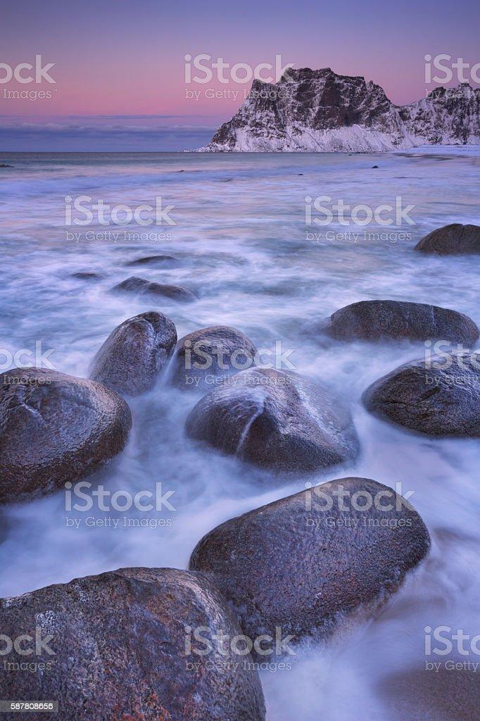Uttakleiv beach on the Lofoten in Norway in winter stock photo