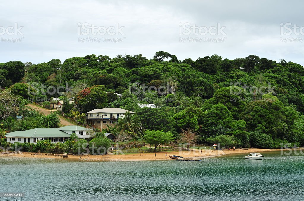 Utulei on Vavau coast stock photo