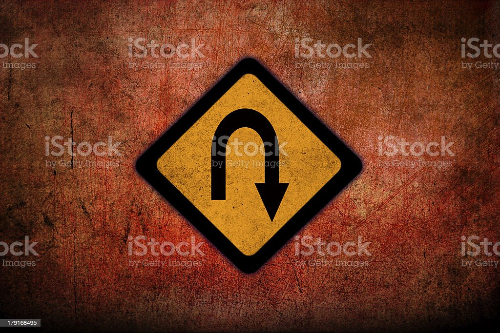 U-Turn Roadsign stock photo