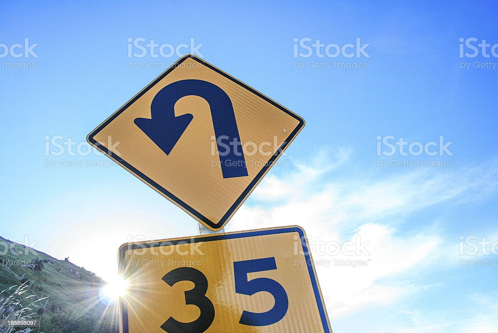 U-Turn sign with number 35 stock photo