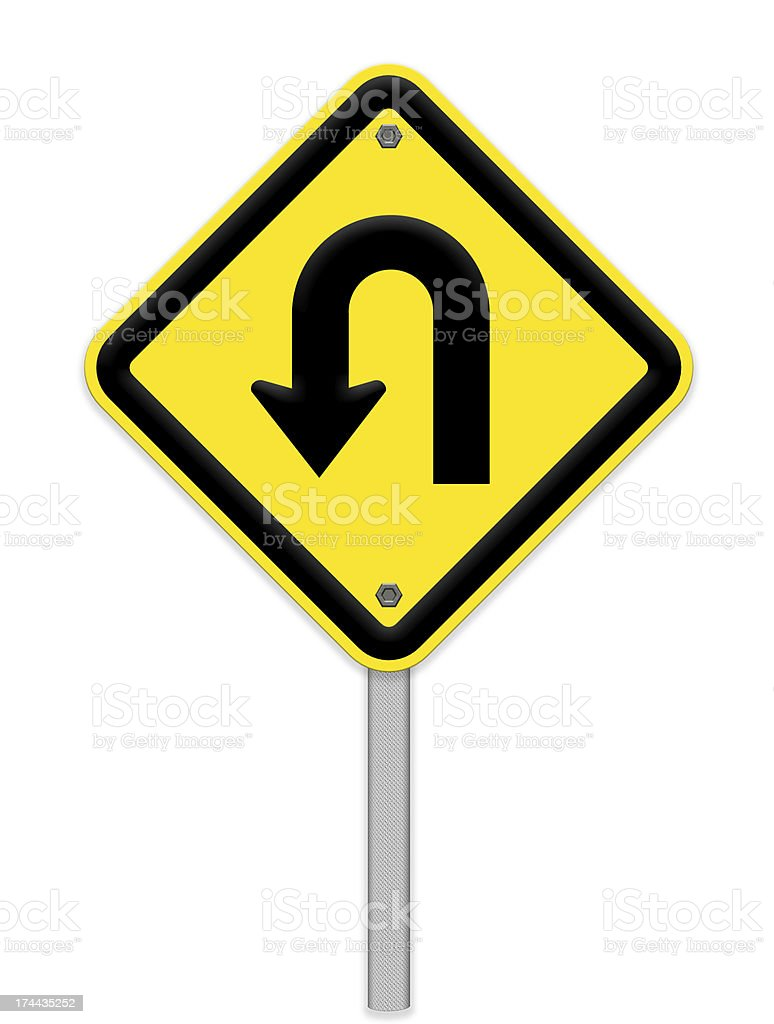 U-Turn  sign with turn symbol isolated on white background ,part stock photo