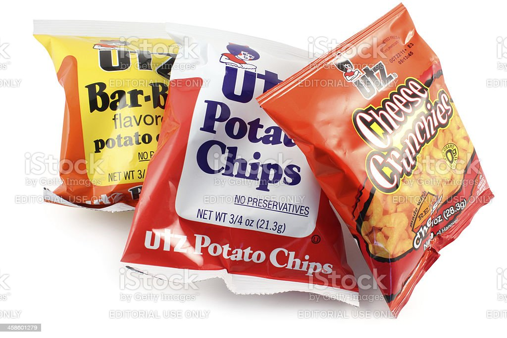 Utz Snacks | Bar-B-Q, Plain Potato Chips and Cheese Crunchies stock photo